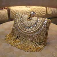 Wholesale European Hoops - Fashion Women Gold Crystal Pearl Tassel Evening Bag Clutch Wedding Party Handbag