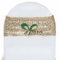 Wholesale Gold Chair Band Wholesale - Light Gold Sequin Chair Band \ Chair Sash Fit For Wedding Spandex Chair Cover