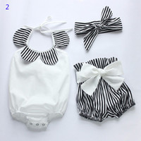 Wholesale Halloween Baby Hair Bows - 3 Style 0-3T Baby Flower Rompers+Hair band+PP pants Girl ins Cotton print sleeveless romper with Bow Girls Ruffled Jumpsuit B