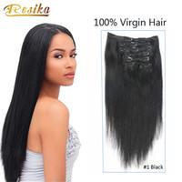 120g 16    Cabeza completa Brasileño virgen Clip en extensiones de cabello  humano Negro Rubio Marrón oscuro Opcional largo Silky recto Pelo humano  Dyeable 98369c053f05