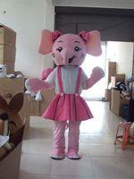ingrosso abito rosa elefante-Costume adulto della mascotte dell'elefante del fumetto di formato dell'elefante Rosa / elefante blu del vestito da Halloween del partito di Chiratmas del vestito su ordine