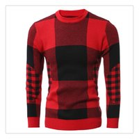 Wholesale Knit Sweaters For Winter Mens - Sweaters for Men Autumn&winter Fashion O-neck Big Lattice Mens Casual Long Sleeves Thicken Sweaters US Size:XS-L