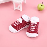 Wholesale Baby Fake Shoes - Infant Toddler Baby Boy Girls Socks That Look Like sport Shoes Anti-slip Cotton Indoor shoelace Sock 0-12months Socks fake shoes SEN059