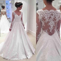 best sweetheart appliqued lace wedding dress - 2017 Satin A-line Wedding Dresses Appliqued Lace With Long Sleeves Illusion Back Bridal Gowns Modest Vestido De Novia