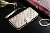 Wholesale Iphone Fashion Logo - For iPhone 7 6 6s plus Fashion Luxury Logo Grid Leather Purse Flip case For Galaxy S7 S6 edge Note5 Wallet Gift Cover