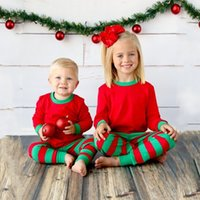 Wholesale Wholesale Childrens Outfits Sets - Christmas Childrens Sets Baby 2017 Striped Outfits Kids Cotton Jumper T-shirts with Striped Pants Kids Autumn Pajamas