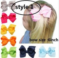 """Wholesale Grosgrain Ribbons For Kids - 6""""Big boutique hair bows grosgrain ribbon bow WITH alligator clip for baby girls children kids teens toddler 20pcs"""