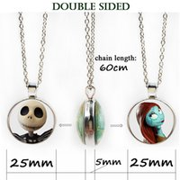 Wholesale Double Heart Alloy Crystal Necklace - Double side necklace Halloween Nightmare Before Christmas Necklace Glass Cabochon wholesale punk skeleton skull locket pendant jewelry