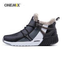 Wholesale Wool Boots For Women - ONEMIX Men Winter Warm Shoes For Women High Top Wool Snow Boots Waterproof Outdoor Fashion Black Walking Sneakers 2017 Sports Running Shoes