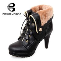 Atacado- BONJOMARISA 2016 Soft PU Leather Winter Warm Women Botas de tornozelo High Thin Heels Sexy Fashion MartIn Winter Boots Mulher Tamanho grande