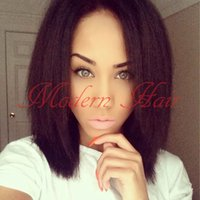 Wholesale Yaki Lace Front Wig Short - Short Yaki synthetic wigs for black Women Short Bob wig Natural Black yaki Kinky Straight hair Synthetic lace front wigs with babyhair 2#6#