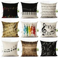 Wholesale Music Linen - Music Series Note Printed Linen Cotton Square 45x45cm Home Decor Houseware Throw Pillow Cushion