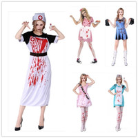 Wholesale Pink Nurse Dress - 2017 Fashion Halloween Cosplay Costumes Dress Nurse clothes Scary White Pink Fanny Dress Up Nightclub Party Costume For Women