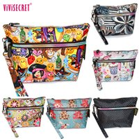 Wholesale Waterproof Zipped Pouches - 2016 Fashion Waterproof Nylon Makeup Organizador Bags Women Small Cute Cartoon Floral Printing Cosmetic Case Purse Zip Pouch