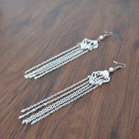 Wholesale Hooks Earings - New Arrival white Lace Drop Earings Fashion Dangle Chain Handmade Tassel Hook Earring Long Chain Jewelry Accessory for Women Wholesale 1031