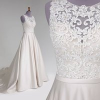 Imagens reais Open Back Wedding Dresses 2018 Jewel Neck Appliques Beads Tribunal Train Country Bridal Vestidos Vestidos De Noiva Cheap Customized