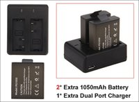 Wholesale Gopro Batteries - 2Pcs 1050mah Rechargeable Battery Charger + Dual Travel Charger For EKEN H9 H9R H3 H3R H8PRO H8R H8 pro SJCAM SJ4000 SJ5000 Sports Camera