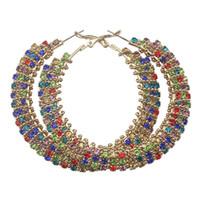 ingrosso orecchini a diamanti a vite-Grandi donne etniche Orecchini di cristallo artificiali colorati Orecchini di cerchio dorati 70mm Diamanti Lusso CZ Grandi orecchini Brincos