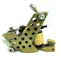 Wholesale Tattoo Custom Machines Frame - Wholesale- BORDER TATTOO MACHINE SOFT-SHADER BRASS COLOR FRAME CUSTOM 10 LAYER COILS