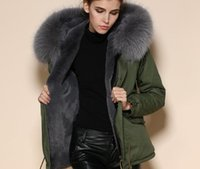 Wholesale new arrival Mr Mrs furs grey fur lining mini army green parkas women fur coats for cold weather