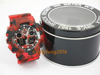Wholesale Dual Time Zone - camo g100 TOP brand new relogio dual display sports watch GMT army military shocking watches men Casual Watches with box 1pcs