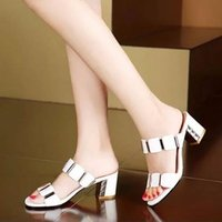 Wholesale Thick Platform Flip Flops - 2016 New Rhinestone Sandals Women Thick Heel Slippers Woman Open Toe Platform Wedges Summer Shoes Woman Pumps Flip Flops Plus