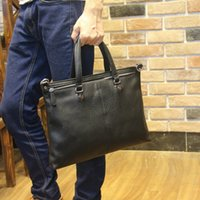 Wholesale Fashionable Computer Bags - Wholesale- Hot Sale masculine Briefcase,Fashionable Soft PU Leather All Match Black Shoulder Bag, Laptop Handbag, Casual Business Male bag