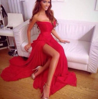 Wholesale Sexy Party Dresses China - Classic 2017 Red Chiffon Prom Dresses Long Cheap Sweetheart Side Split Sexy Formal Party Evening Gowns Custom Made China EF70813