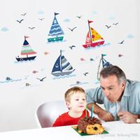 ingrosso scuola di sfondo-Adesivo murale Barca a vela Gabbiano per la camera dei bambini Scuola materna Fondale Decalcomania PVC Murale Home Decor Elegante 2 2pc F R