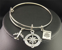 Wholesale Christmas Airplane - Silver Wanderlust Traveling The World Airplane Compass Passport Charm Wire Wrapped Bangle Bracelet Traveler Jewellery