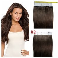 Wholesale Cheap Darkest Brown PU tape in Hair Extensions Remy Pieces Human Brazilian Straight