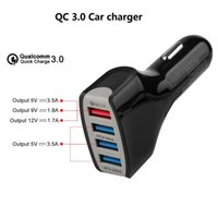 Wholesale 4port usb - Qualcomm Quick Charge car chargers 5V 7A 9V 1.8A QC3.0 Chargers 4port USB phone fast chargers with retail package