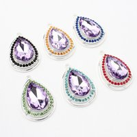 Wholesale Purple Amulet Necklace - Wholesale 43*29mm Princess Sofia Purple Teardrop Rhinestone Pendant Crystal Sofia The First Inspired Chunky Amulet Charm Pendant