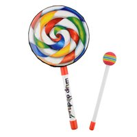 Wholesale Percussion Education - Wholesale- New Cute Lovely Colorful Lollypop Hand Drum Hammer Percussion Music Education Toy for Kids Multicolor