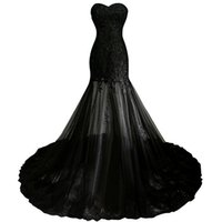 Wholesale piece short sweetheart online - Fast Shipping Robe Sirene Longue Sexy Black Mermaid Dress Evening Cheap Formal Party Dresses Long