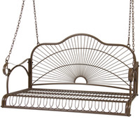 Antique outdoor bench furniture - Iron Patio Hanging Porch Swing Chair Bench Seat Outdoor Furniture