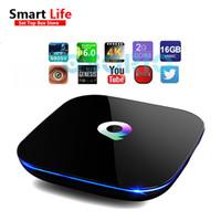 Wholesale Internet Stream Player - 1 PCS 2GB 16GB Q-Box Android 6.0 Smart Internet IPTV BOX Amlogic s905X Streaming Media Player 4K Wifi Add-Ons pre-installed Android OTT Box