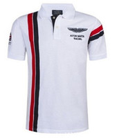 Wholesale Collared Racing Shirts - Summer Hot In Spain Fashion Sport Polo Shirt Men ASTON MARTIN RACING 100% Cotton Polos Shirts Red White