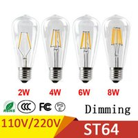 Wholesale Dimmable Led E27 Driver - Dimmable Retro LED Filament Bulb ST64 E27 2W 4W 6W 8W 110V No Flicker Replace Edison Bulb Smart IC Driver Energy Saving