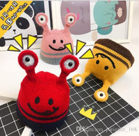 Wholesale Wholesale Face Hat Kids - 5 colors Ins Baby Kids boy girls Children autumn Winter Tentacle eye hat baby wool Smiley face hat Cotton Knitted Winter keep warm hat
