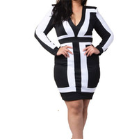 Wholesale Low Back Cut Club Dress - New Arrival White&Black Low Cut V Front Midi Zipper Back Closure Autumn Fashion Sexy Dress W374476