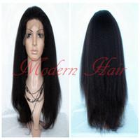 Wholesale heavy density full lace wigs - Heavy Density Long Italian Yaki Kinky Straight Synthetic Lace Front   Full Lace Wig Heat Resistant Fiber For Fashion Black Women Cheap Wigs