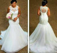 Wholesale Sleeveless Wedding Dresses Pictures - Elegant Sheer Scoop Neck Plus Size Mermaid Wedding Dresses Applique 2017 Spring Bridal Gown Train Church Bride Dress New Arrival