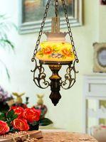 Wholesale Vintage Oil Painting Chain - Makenier Vintage Oil-lamp-shaped Hand-Painted Rose Flower 9.5 Inch Pendant Lamp