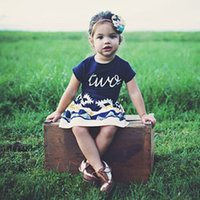 Wholesale love leisure online - New summer two piece suit baby Leisure suit letter two Love Short sleeve T shirt Short sleeve Geometric pattern short skirt two pieces