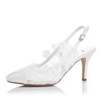 Wholesale White Pointy Toe Pumps - Hot Sling Back Nice Delicated Sunflower Lace Pointy Shoe Toe Wedding Shoe Bridal Shoes For Wedding Bridemaid Elegance Style for Bride