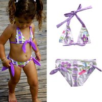 Wholesale Infant Girls Bathing Suits - Infant Baby Girl Bikini Set 2Pcs infant Meisje Swimsuit Floral Off Shoulder Lotus Leaf Collar Bathing Suit toddler summer beach Top+Shorts