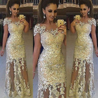 Wholesale 2017 Elegant Illusion Lace Evening Dresses Robe De Soiree Lace Applique Floor Length Formal Prom Party Dresses With Cap Sleeves