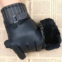 Atacado- Homens Luxurious PU Leather Winter Super Driving Warm Gloves Cashmere Vogue