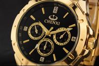 Wholesale Mens Golden Wrist Watches - Mens Quartz Watch Top Brands Luxury Man Golden Stainless Steel Clock Wrist Watches Quartz Stylish Male Waterproof Watch